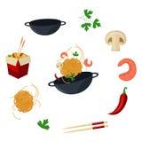 Vector flat udon noodles wok symbols set. Vector flat asian wok symbols set. Udon noodles in paper box, large royal shrimp, chili pepper, sticks, parsley Stock Photos