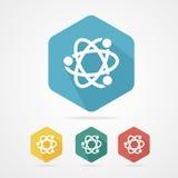 Vector flat atom icon. Atom part symbol. Royalty Free Stock Photo