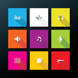 Vector flat audio icon set Royalty Free Stock Photography