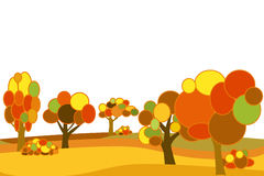 Vector flat autumn forest Stock Image
