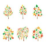 Vector flat autumn trees on white background. Logo design illustration. stock illustration