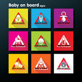 Vector flat baby on board sign set Royalty Free Stock Image