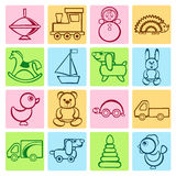 Vector flat baby icons set. Baby colorful flat design icons set. Template elements for web and mobile applications Royalty Free Stock Photo
