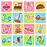 Vector flat baby icons set. Baby colorful flat design icons set. Template elements for web and mobile applications Royalty Free Stock Images
