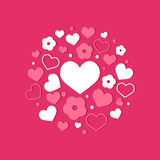 Vector flat background, pattern design with hearts. Royalty Free Stock Photos