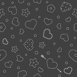 Vector flat background, seamless bright pattern with hearts. Vector flat love seamless pattern with hearts and flowers. Cute black color design for gift Royalty Free Stock Photography
