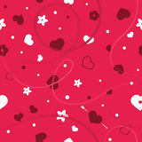 Vector flat background, seamless bright pattern with hearts. Vector flat love seamless pattern with hearts and flowers. Cute bright color design for gift Royalty Free Stock Photos