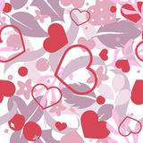 Vector flat background, seamless bright pattern with hearts. Vector flat love seamless pattern with hearts and flowers. Cute bright color design for gift Stock Photos