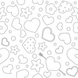 Vector flat background, seamless bright pattern with hearts. Vector flat love seamless pattern with hearts and flowers. Cute bright color design for gift Stock Image
