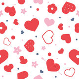 Vector flat background, seamless bright pattern with hearts. Vector flat love seamless pattern with hearts and flowers. Cute bright color design for gift Stock Images