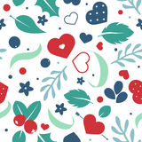 Vector flat background, seamless pattern design with hearts. Vector love background with hearts and flowers. Creative seamless pattern design for gift wrapping Royalty Free Stock Photos