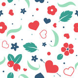 Vector flat background, seamless pattern design with hearts. Vector love background with hearts and flowers. Creative seamless pattern design for gift wrapping Stock Image