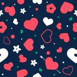 Vector flat background, seamless pattern design with hearts. Vector love background with hearts and flowers. Creative seamless pattern design for gift wrapping Stock Photography
