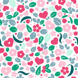 Vector flat background, seamless pattern design with hearts. Vector love background with hearts and flowers. Creative seamless pattern design for gift wrapping Royalty Free Stock Photo