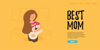 Vector Flat Banner. The best mom. royalty free illustration