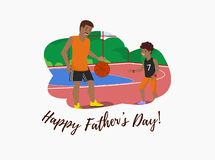 Vector Flat Banner Happy Fathers Day Dad and Son. vector illustration