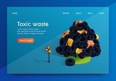 Vector Flat Banner Problem Factory Toxic Waste. Radioactive Nuclear Waste Dumps and its Storage is Dangerous Inhabitants Earth and Environment. Approaching vector illustration