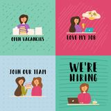 Vector Flat Banner set girl agrees to the vacancy. royalty free illustration