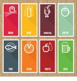 Vector flat banners with cafe icons Stock Photos