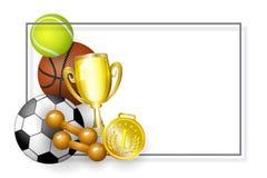 Vector flat cartoon sport equipment banner. Vector flat basketball footnall, tennis ball, golden cup winner trophy, first place medal and dumbbells - sport Stock Photo