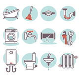 Vector flat bathroom icons set. Stock Images