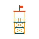 Vector flat beach life guard tower Stock Image