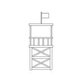 Vector flat beach life guard tower Royalty Free Stock Photography