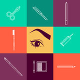 Vector flat beauty industry icons design. Royalty Free Stock Photo