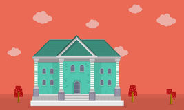 Vector flat of big house on orange backgrounds Royalty Free Stock Images