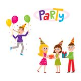 Vector flat birthday party scenes set Stock Images