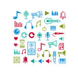 Vector flat 8 bit musical icons, collection of simple geometric. Pixel symbols. Digital web signs Royalty Free Stock Image
