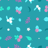 Vector flat blueberries, seamless creative pattern. Royalty Free Stock Photo