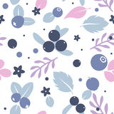 Vector flat blueberries, seamless creative pattern. Royalty Free Stock Images