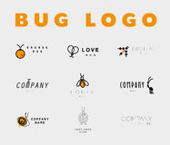 Vector flat bug logo collection. Stock Photography