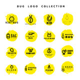 Vector flat bug logo collection. Royalty Free Stock Photo