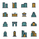 Vector flat buildings icons set. On white background Royalty Free Stock Photo