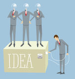 Vector Flat Business Concept. Idea research flat isometry business startup experiment concept vector illustration. Businessman lighting big lamp abstract Stock Photos