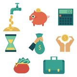 Vector flat business finance banking money symbol. Flat business finance, banking, currency, saving symbols set. Wallet full of money, hand holding money bag Royalty Free Stock Photo