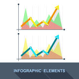 Vector flat Business graph and chart on grey background. Stock Image