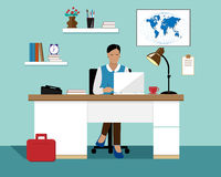 Vector flat business woman with laptop working in her office Stock Images