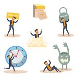 Vector flat businessman deadline, overwork set Stock Photography