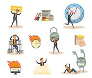 Vector flat businessman deadline, overwork set Stock Images