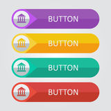 Vector flat buttons with bulding icon. File format eps 10 Vector Illustration