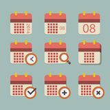 Vector flat calendar icon set Stock Image