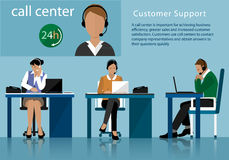 Vector flat call center concept with man and woman in headsets. Call centre operators working in line with their headsets in offic Royalty Free Stock Images