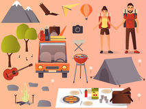 Vector flat camping, hiking icons set. Vector hiking icons set. Travel car, camping equipment and picnic accessories collection. Young couple going hiking. Flat Royalty Free Stock Photos