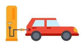 Vector flat car refuelling illustration Royalty Free Stock Photography