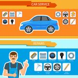 Vector car repair, mechanics services infographics. Vector flat car repair, maintenance, mechanics services infographic posters banners set with car spare parts stock illustration