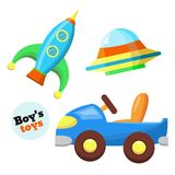 Vector flat car, rocket, flying caucer toys set. Boys baby toys set in flat style. Car vehicle, rocket and flying saucer spaceship. Kids education and Stock Photo