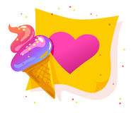 Vector flat cartoon banner with colorful paper sheet and tasty shiny ice cream cone Royalty Free Stock Image